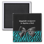 Trendy Teal And Black Zebra Print Boy Baby Shower 2 Inch Square Magnet