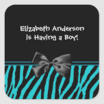 Trendy Teal And Black Zebra Print Boy Baby Shower Square Stickers