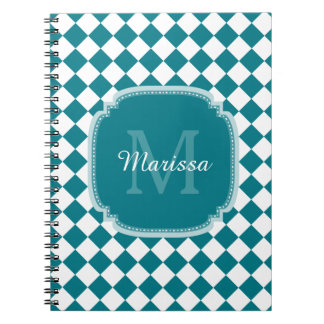 Trendy Teal and White Checked Monogrammed Name Notebook