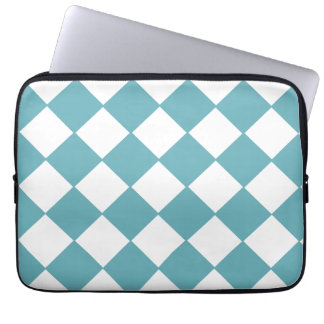 Trendy Teal And White Checkerboard Pattern Laptop Computer Sleeves