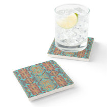Trendy Teal Aqua Turquoise Blue Orange Brown Art Stone Coaster