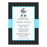Trendy Teal Blue Zebra Carriage Baby Shower Announcement