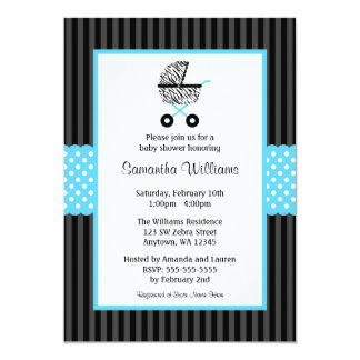 Trendy Teal Blue Zebra Carriage Baby Shower 5x7 Paper Invitation Card