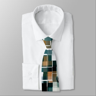 Trendy Teal Brown Black White Plaid Neck Tie