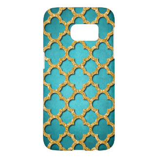 Trendy Teal Faux Shiny Gold Glitter Mosaic Pattern Samsung Galaxy S7 Case