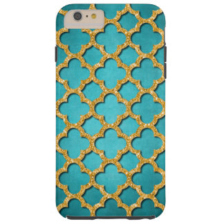 Trendy Teal Faux Shiny Gold Glitter Mosaic Pattern Tough iPhone 6 Plus Case