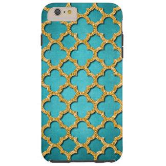 Trendy Teal Faux Shiny Gold Glitter Mosaic Pattern Tough iPhone 6 Plus Case