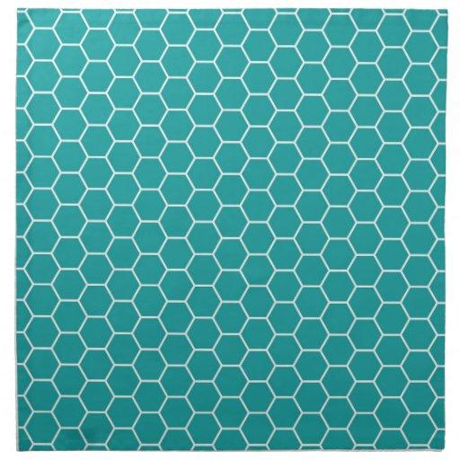 Trendy Teal Geometric Honeycomb Hexagon Pattern Napkin ...