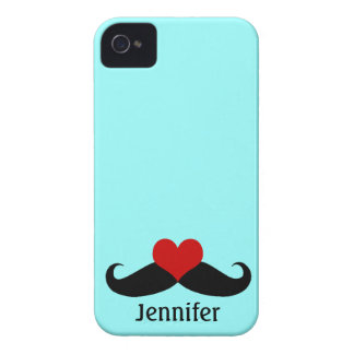 Trendy Teal I love Mustaches with Name iPhone Case iPhone 4 Cases