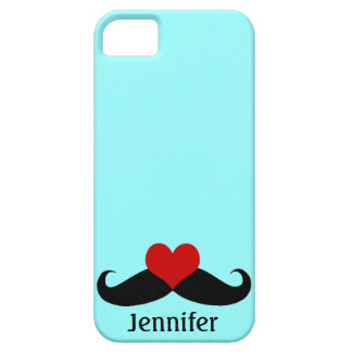 Trendy Teal I love Mustaches with Name iPhone Case iPhone 5 Cover