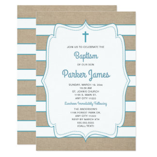 Trendy Teal + striped canvas Baptism invite