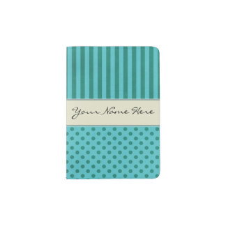 Trendy Teal Stripes and Polka Dots Patterns Passport Holder