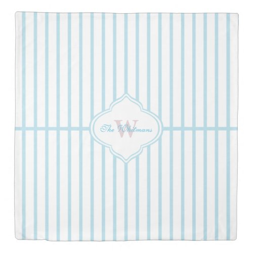 Trendy Teal Stripes with Monogram Duvet Cover