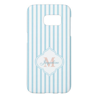 Trendy Teal Stripes with Monogram Samsung Galaxy S7 Case