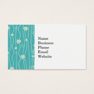 Trendy Teal Summer Flower Pattern Business Card