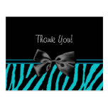 Trendy Teal Thank You Zebra Print With Ribbon Post Cards