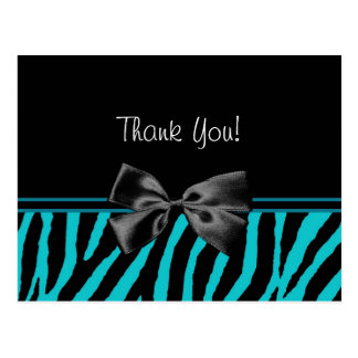 Trendy Teal Thank You Zebra Print With Ribbon Postcard