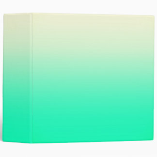 Trendy Teal to Vintage White Ombre Gradient 3 Ring Binder