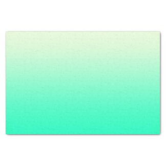 """Trendy Teal to Vintage White Ombre Gradient 10"""" X 15"""" Tissue Paper"""