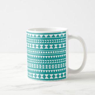 Trendy Teal Tribal Aztec Pattern Classic White Coffee Mug