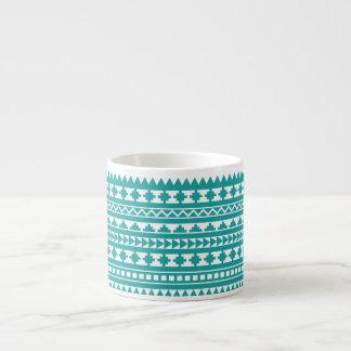 Trendy Teal Tribal Aztec Pattern 6 Oz Ceramic Espresso Cup