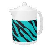 Trendy Teal Turquoise Black Zebra Stripes