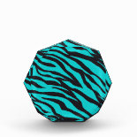 Trendy Teal Turquoise Black Zebra Stripes Acrylic Award
