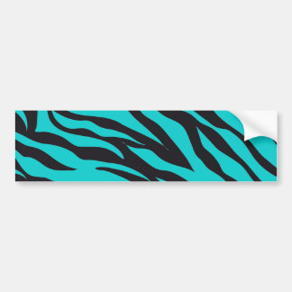 Trendy Teal Turquoise Black Zebra Stripes Bumper Sticker