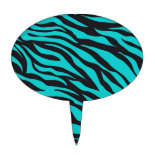 Trendy Teal Turquoise Black Zebra Stripes Cake Pick