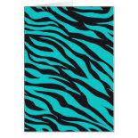 Trendy Teal Turquoise Black Zebra Stripes Greeting Cards