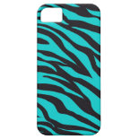 Trendy Teal Turquoise Black Zebra Stripes iPhone 5 Case