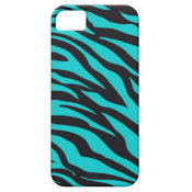 Trendy Teal Turquoise Black Zebra Stripes iPhone 5 Case