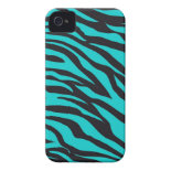 Trendy Teal Turquoise Black Zebra Stripes iPhone 4 Case-Mate Cases