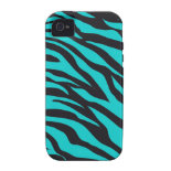 Trendy Teal Turquoise Black Zebra Stripes iPhone 4 Cover