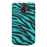 Trendy Teal Turquoise Black Zebra Stripes Galaxy Nexus Case