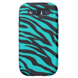 Trendy Teal Turquoise Black Zebra Stripes Samsung Galaxy S3 Case