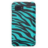 Trendy Teal Turquoise Black Zebra Stripes HTC Vivid Cover