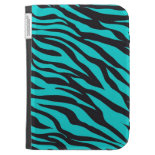 Trendy Teal Turquoise Black Zebra Stripes Cases For The Kindle