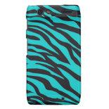 Trendy Teal Turquoise Black Zebra Stripes Motorola Droid RAZR Cases