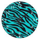 Trendy Teal Turquoise Black Zebra Stripes Round Clock