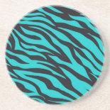 Trendy Teal Turquoise Black Zebra Stripes Beverage Coasters