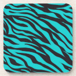 Trendy Teal Turquoise Black Zebra Stripes Drink Coasters