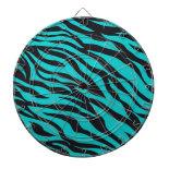 Trendy Teal Turquoise Black Zebra Stripes Dart Boards