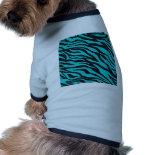 Trendy Teal Turquoise Black Zebra Stripes Doggie Tee Shirt