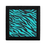 Trendy Teal Turquoise Black Zebra Stripes Jewelry Box