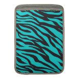 Trendy Teal Turquoise Black Zebra Stripes MacBook Sleeves