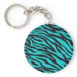 Trendy Teal Turquoise Black Zebra Stripes Keychains