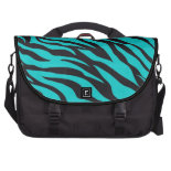 Trendy Teal Turquoise Black Zebra Stripes Bags For Laptop