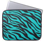 Trendy Teal Turquoise Black Zebra Stripes Computer Sleeves