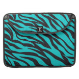 Trendy Teal Turquoise Black Zebra Stripes MacBook Pro Sleeves